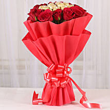 Premium Rocher Bouquet: Valentines Day Flowers & Chocolates