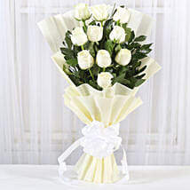 Pristine White Roses Bunch: Flowers for Sympathy & Funeral