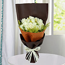 Pure White Roses Bunch: