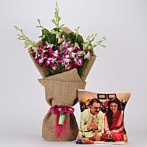 Purple Orchids Bunch & Personalised Cushion Combo: Mothers Day Personalised Gifts
