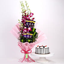 Purple Orchids Posy & Black Forest Cake: Flowers & Cake Combos