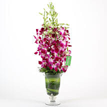 Purple Orchids Vase Arrangement: Romantic Flowers for Boyfriend