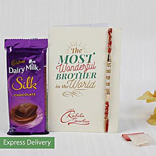 Rakhi With Dairy Milk Silk Chocolate: Rakhi with Chocolates