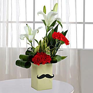 Red Carnation N Leaves Arrangement: Lilies
