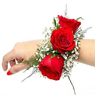 Red Rose Fresh Flower Bracelet: Send Anniversary Flowers for Wife