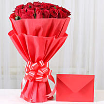 Red Roses N Greeting card: Rose Day Flowers