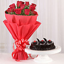 Red Roses with Cake: Send Promise Day Gifts