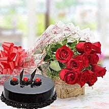 Red Roses With Truffle Cake: Send Flowers & Cakes to Delhi