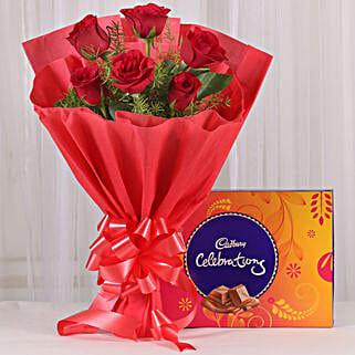 Red Roses & Cadbury Celebrations Combo: Flowers with Chocolates