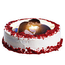 Red Velvet Photo Cake: Romantic Personalised Gifts