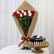 Red & White Roses with Choco Cream Cake: Valentines Day Flowers & Cakes