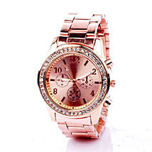 Rinestone Rose Gold Watch For Women: Aunt