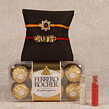 Rocher And 2 Rakhis Combo: Send Rakhi to Kaithal