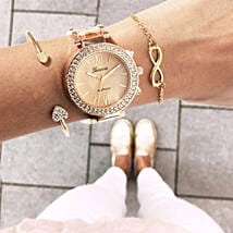 Rosegold Rush Beige Bracelet Stack: Watches for Her