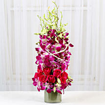 Roses And Orchids Vase Arrangement: Valentine Flowers Bengaluru