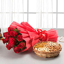 Roses with dryfruits EXDFNP113: Dry Fruits Gift Packs