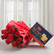 Roses with Sone Papri: Send Flowers & Sweets for Birthday