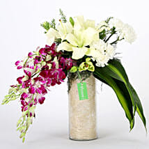 Orchids & Carnations Vase Arrangement: Send Wedding Flowers for Groom