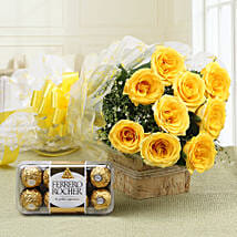Royal Retreat- Yellow Roses & Ferrero Rochers: Send Flowers and Chocolates