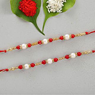 Set Of 2 Appealing Pearl & Beads Rakhis: Set of 2 Rakhis