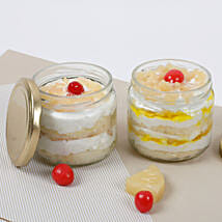 Set of 2 Sumptuous Pineapple Jar Cake: Cake in a Jar