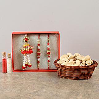 Set Of 3 Graceful Rakhis & Cashews Combo: Rakhi with Dryfruits