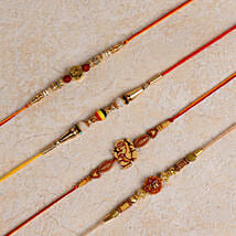 Set of 4 Designer Rakhis: Rakhi Gifts to Bhilwara
