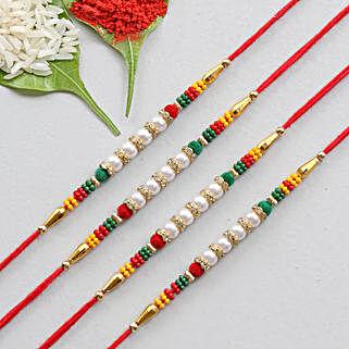 Set Of 4 Pretty Pearl Rakhis: Send Set of 4 Rakhi