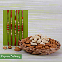 Set Of 5 Rakhi With Dry Fruits: Set of 5 Rakhi