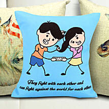 Sibling Fight Cushion: Return Gifts for Sister