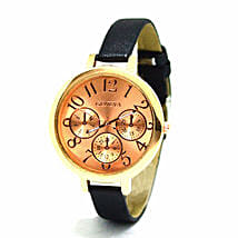 Sleek rose gold Black Watch For Women: Women's Accessories