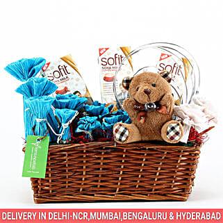 Sofit Soya Milk & Teddy Bear Basket: Send Anniversary Gift Baskets
