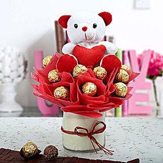 Ferrero Rocher & Teddy Bear Arrangement: Romantic Chocolates