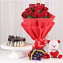 Softy Roses Hamper: Flowers & Teddy Bears for Mothers Day