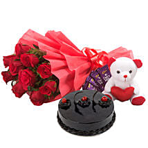 Roses with Teddy Bear, Dairy Milk & Truffle Cake: Send Flowers & Chocolates for Love