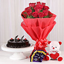 Roses with Teddy Bear, Dairy Milk & Truffle Cake: Anniversary Bouquets