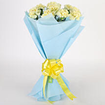 Sundripped Yellow Carnations Bouquet: Send Flower Bouquets