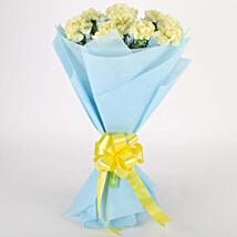 Sundripped Yellow Carnations Bouquet: Valentine Flowers for Her