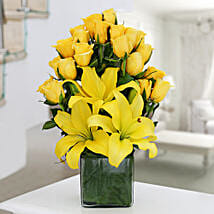 Yellow Roses & Asiatic Lilies Vase Arrangement: Same Day Delivery Gifts for Friendship Day