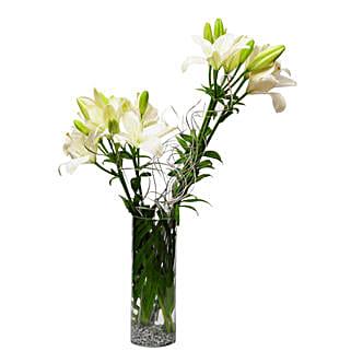 Sweet memories - Glass vase arrangement of 6 white & yellow asiatic lilies.