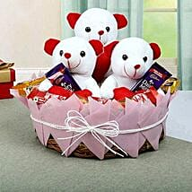 Teddy and Chocolate Basket: Rakhi Return Gifts for Sister
