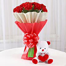Teddy Bear & 12 Red Carnations Bouquet: Flowers & Teddy Bears