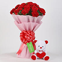 Teddy Bear & 20 Red Carnations Combo: Carnations