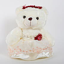 Teddy Bear With Red Flower: Send Soft Toys for Kids
