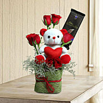 Teddy With Roses: Chocolate Bouquet Delhi