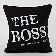 The Boss Printed Canvas Cushion: Boss Day Gifts