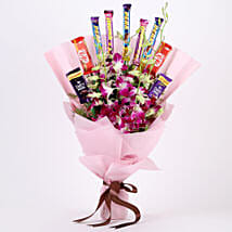 True Feelings- Purple Orchids & Chocolate Bouquet: Send Chocolate Bouquet for Kids