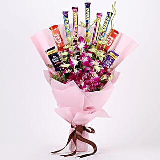 True Feelings- Purple Orchids & Chocolate Bouquet: Chocolate Bouquet to Delhi