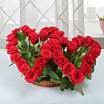 Two Red Hearts As One Basket Arrangement: Flowers for Anniversary