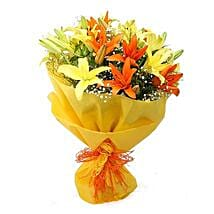 Vibrant Lilies Bouquet: Lilies to Hyderabad